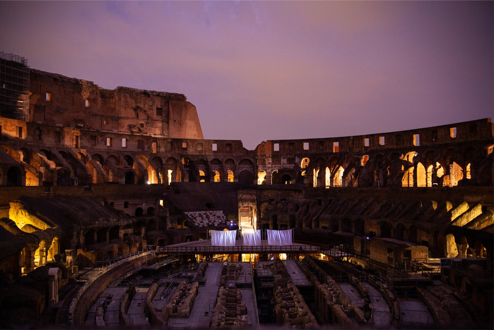 A view of the Colosseum in Rome, Italy at night