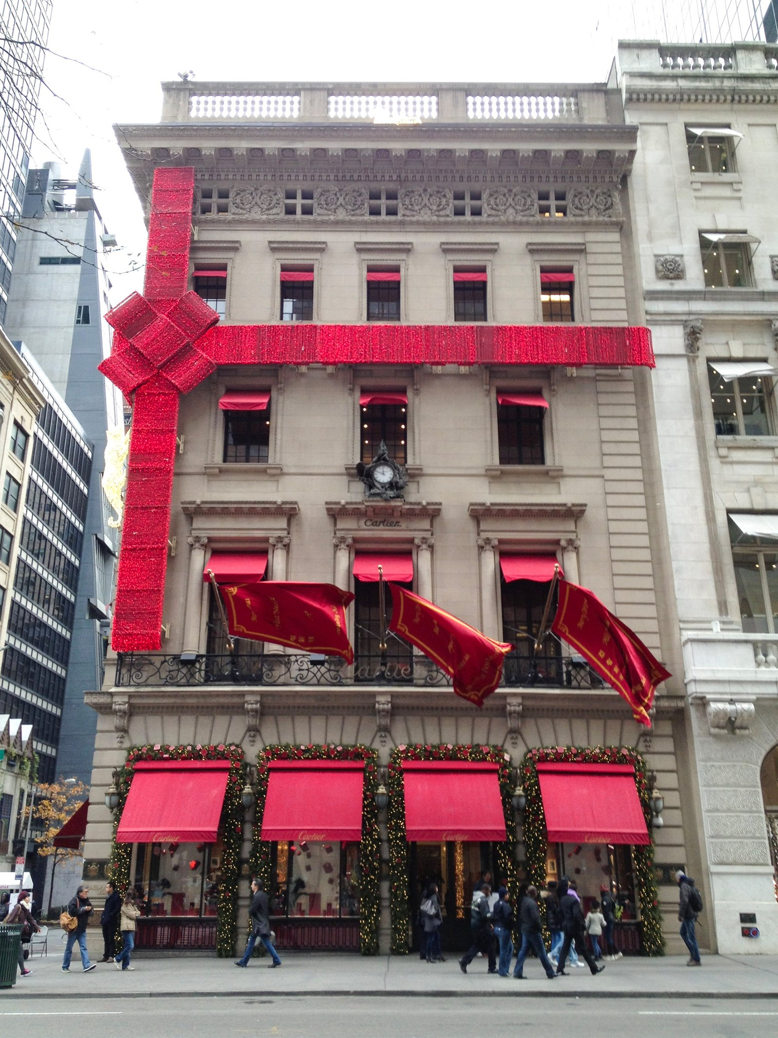 Cartier on Fifth Avenue in NYC decorated for the holidays