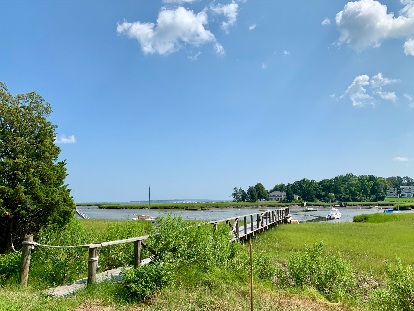 a dock extending into the water in the summer in Duxbury, Massachusetts