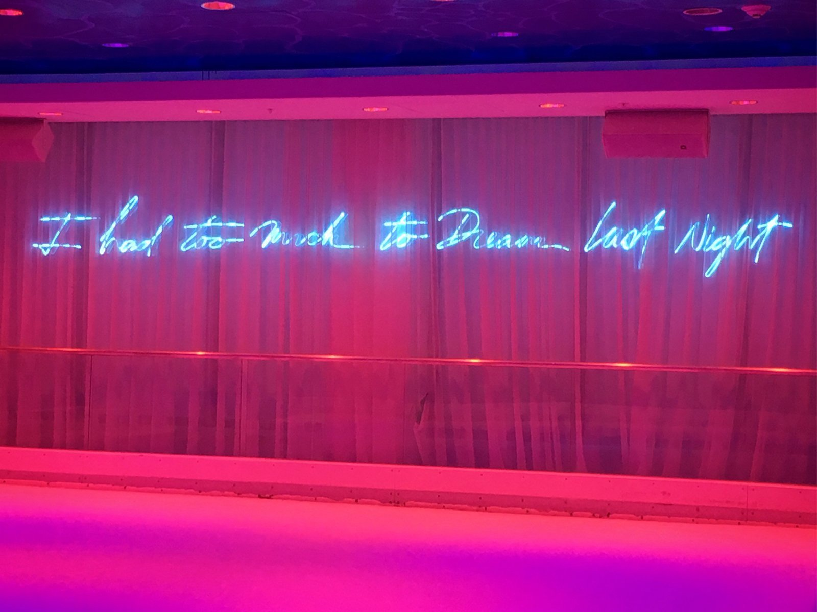"A quote that reads ""I had too much to dream last night"" written abovet= the ice skating rink inside The Basement nightclub in Miami Beach, Florida."
