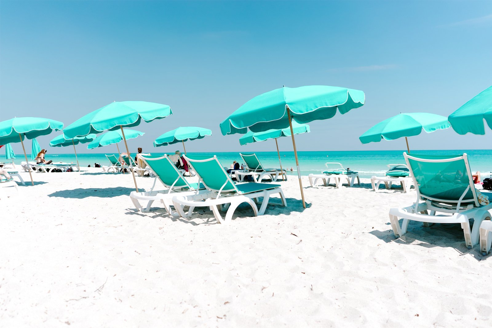 beach chairs in south beach, miami, florida