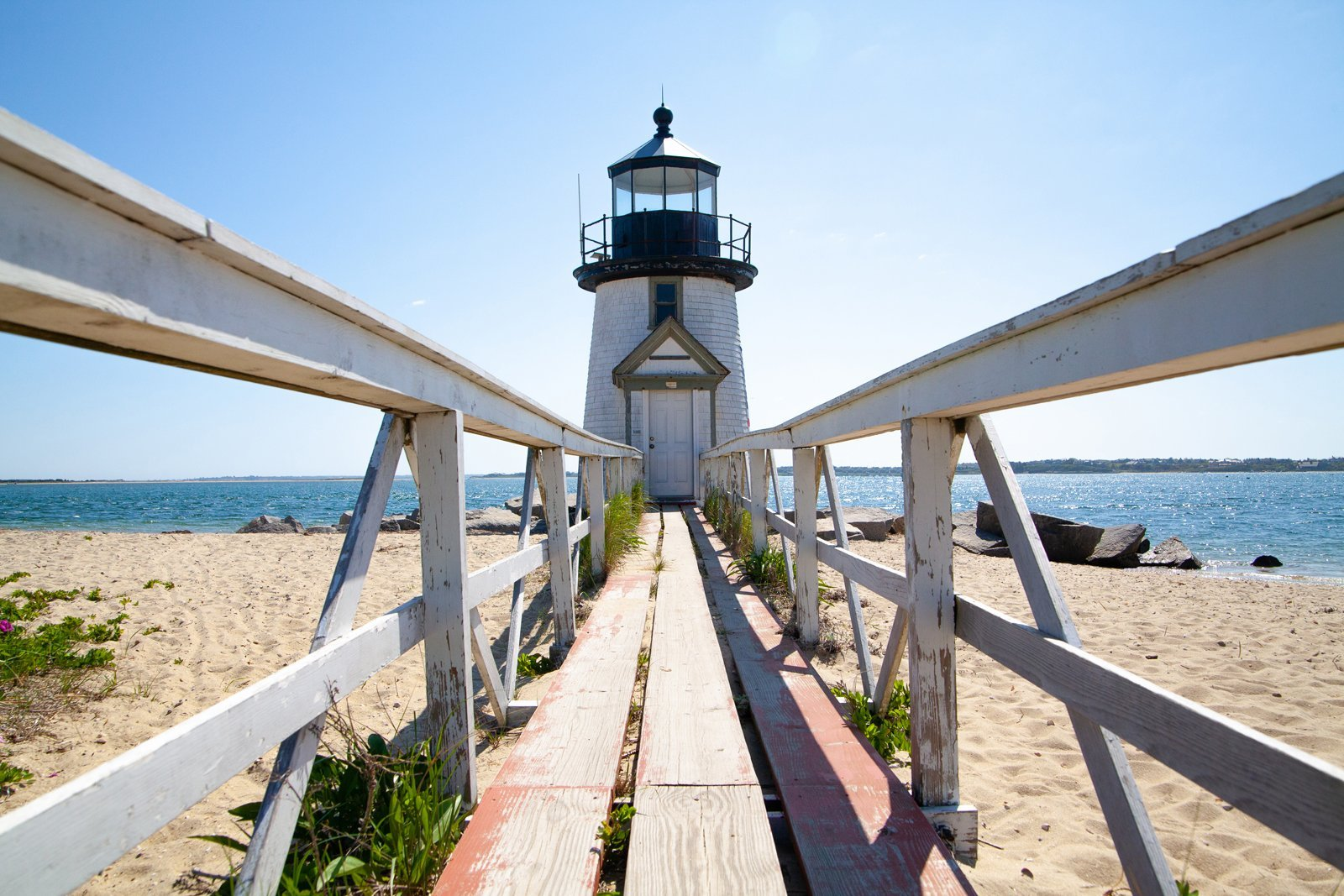 Brant Point Lighthouse in the summer in Nantucket, Massachusetts