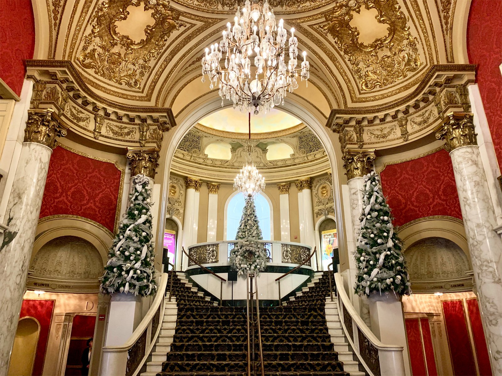 the lobby of the Citizens Bank Opera House decorated for Boston Ballet's The Nutcracker