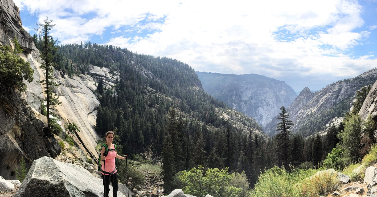 a hiker hiking to half dome in yosemite national park