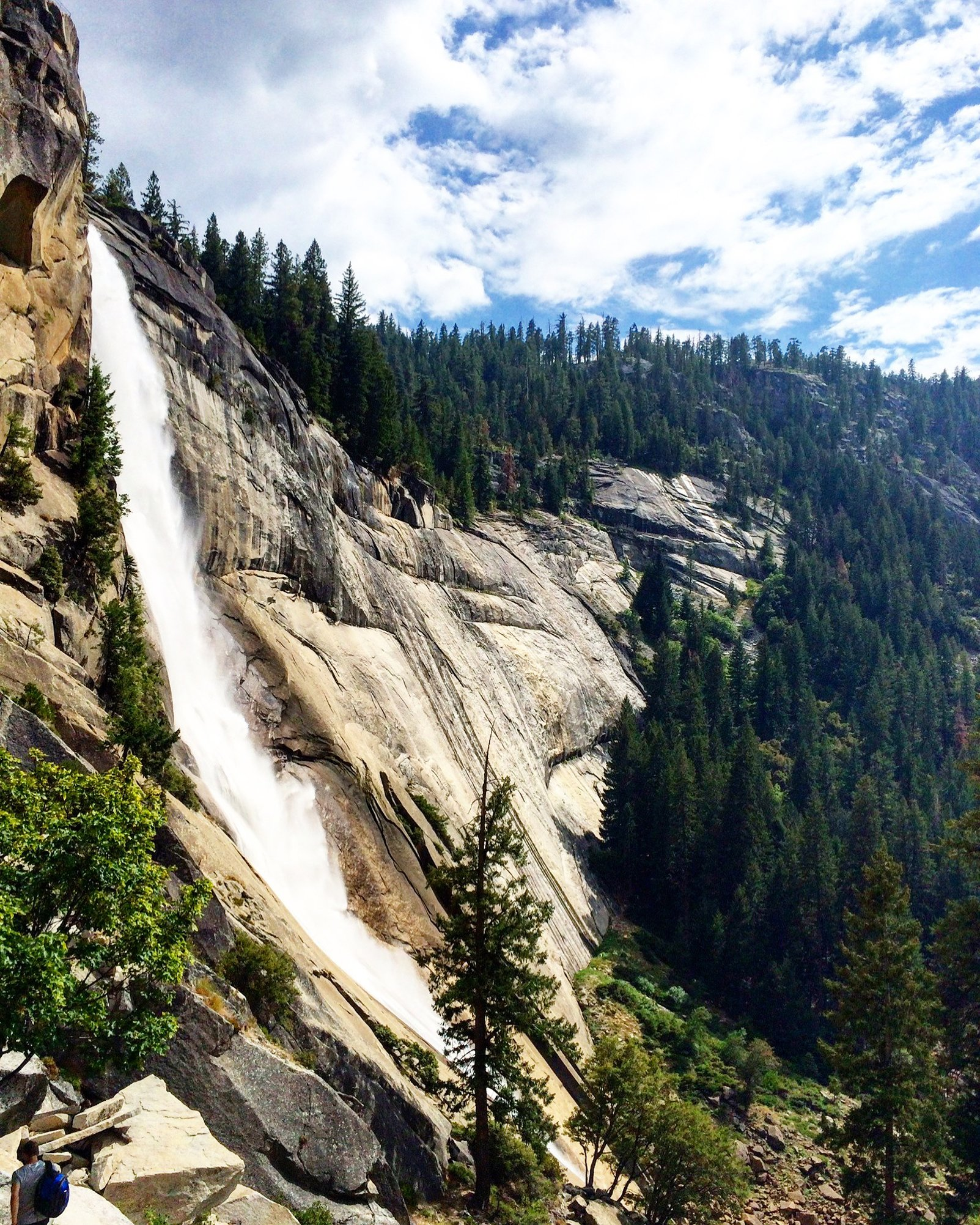 view of nevada falls on the hike to half dome in yosemite national park
