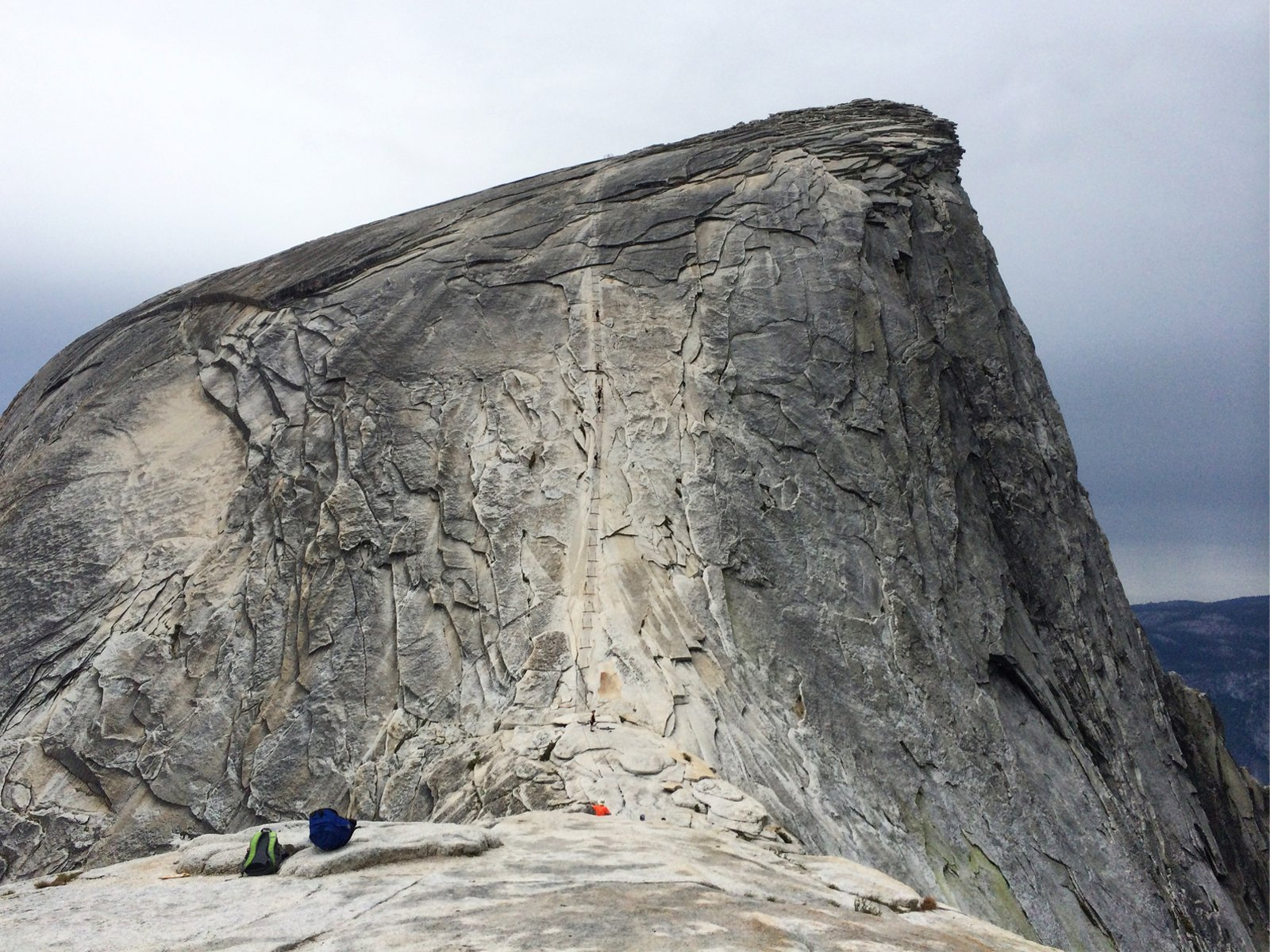 view of the cables leading up to the summit of half dome in yosemite national park