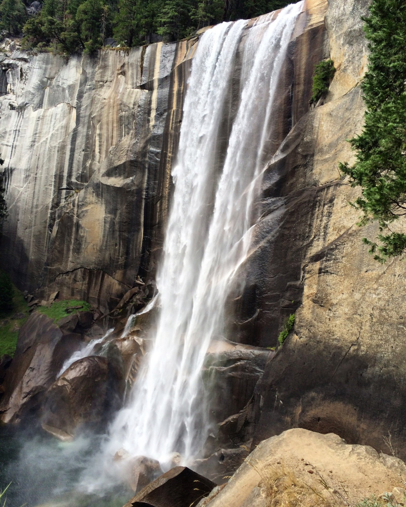 a view of vernal falls on the hike to half dome in yosemite national park