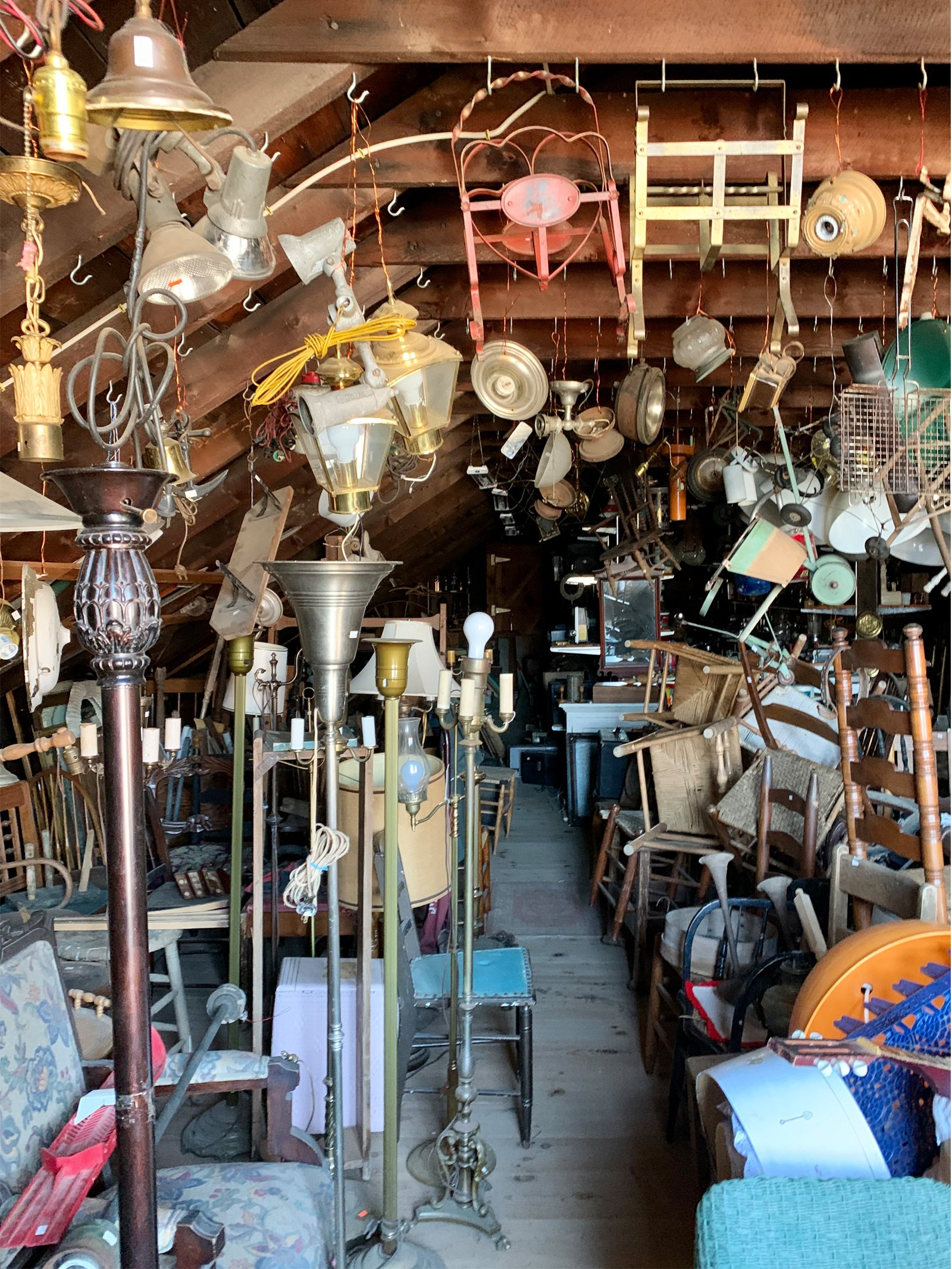 an attic full of antiques at Freight House Antiques in Erving, MA