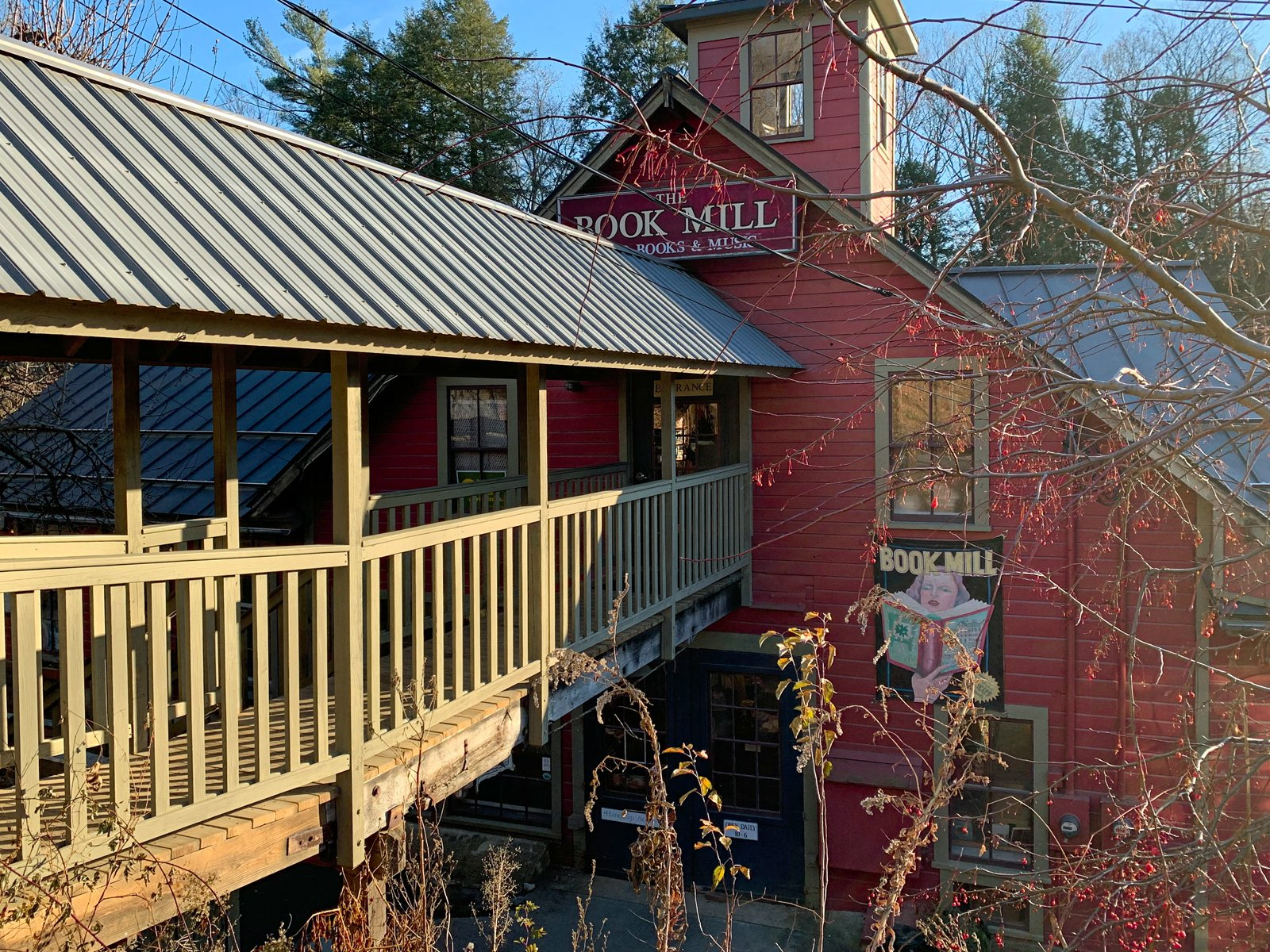 Montague Bookmill in Montague, MA is housed in an old mill building