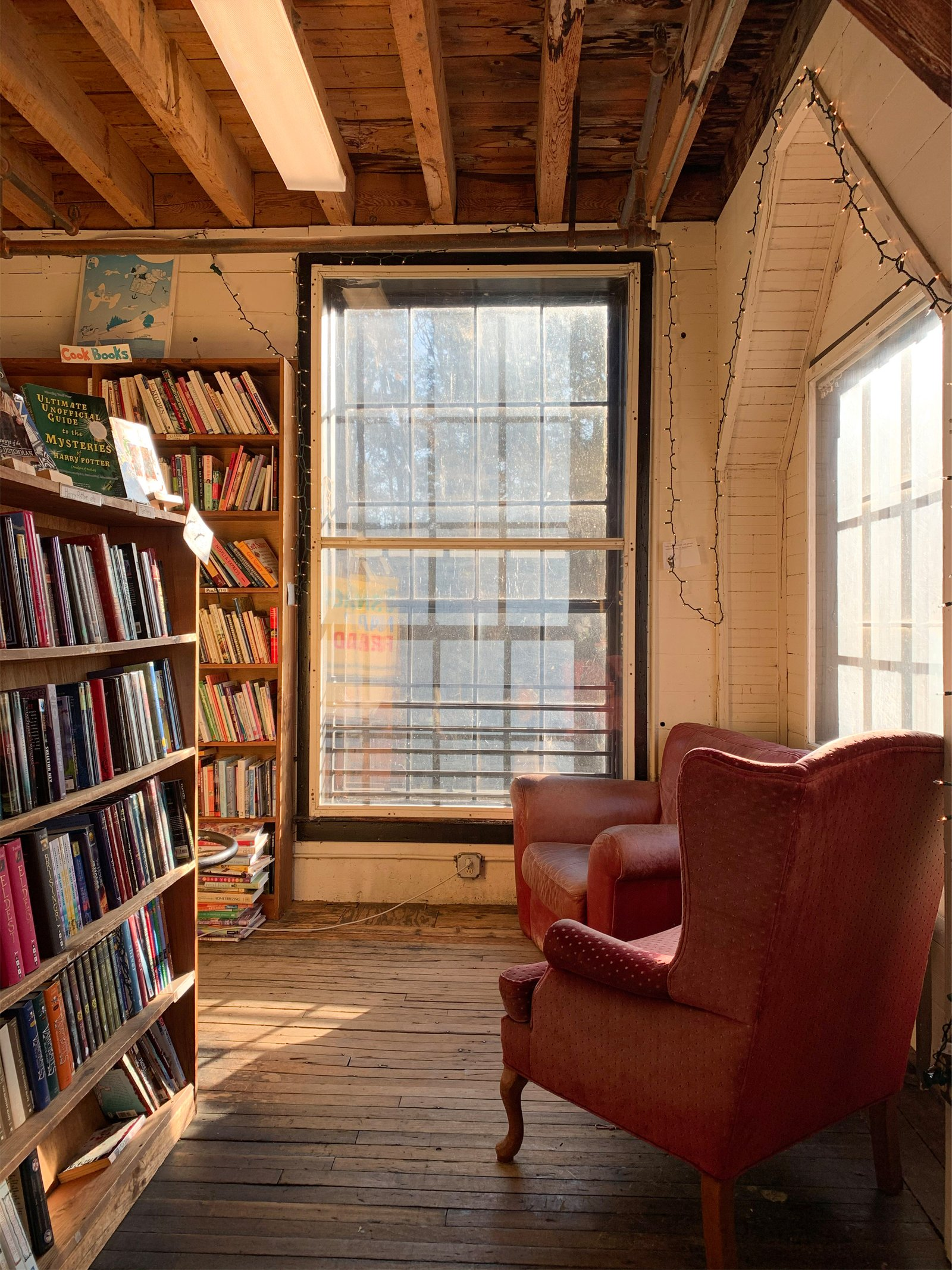 a cozy reading nook at the Montague Bookmill in Montague, MA