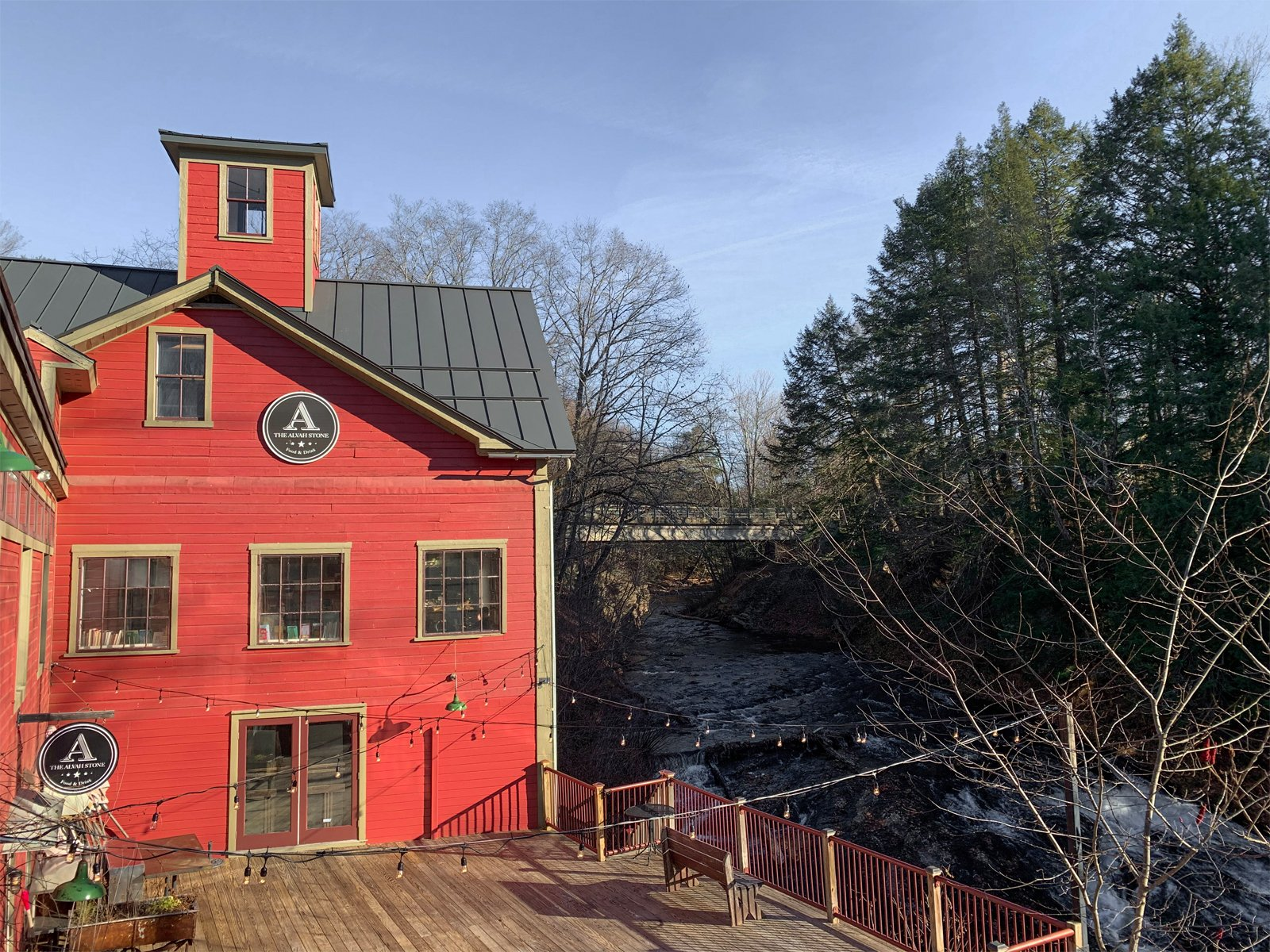 a view of the river next to the Montague Bookmill in Montague, MA