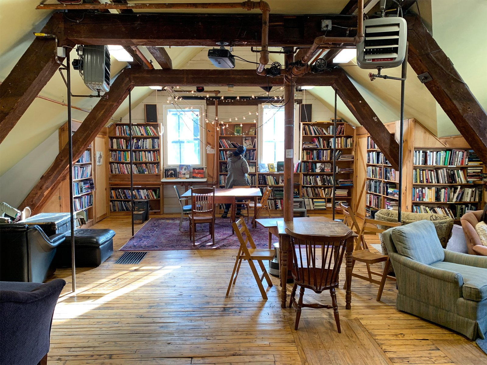 a room in the Montague Bookmill in Montague, Massachusetts