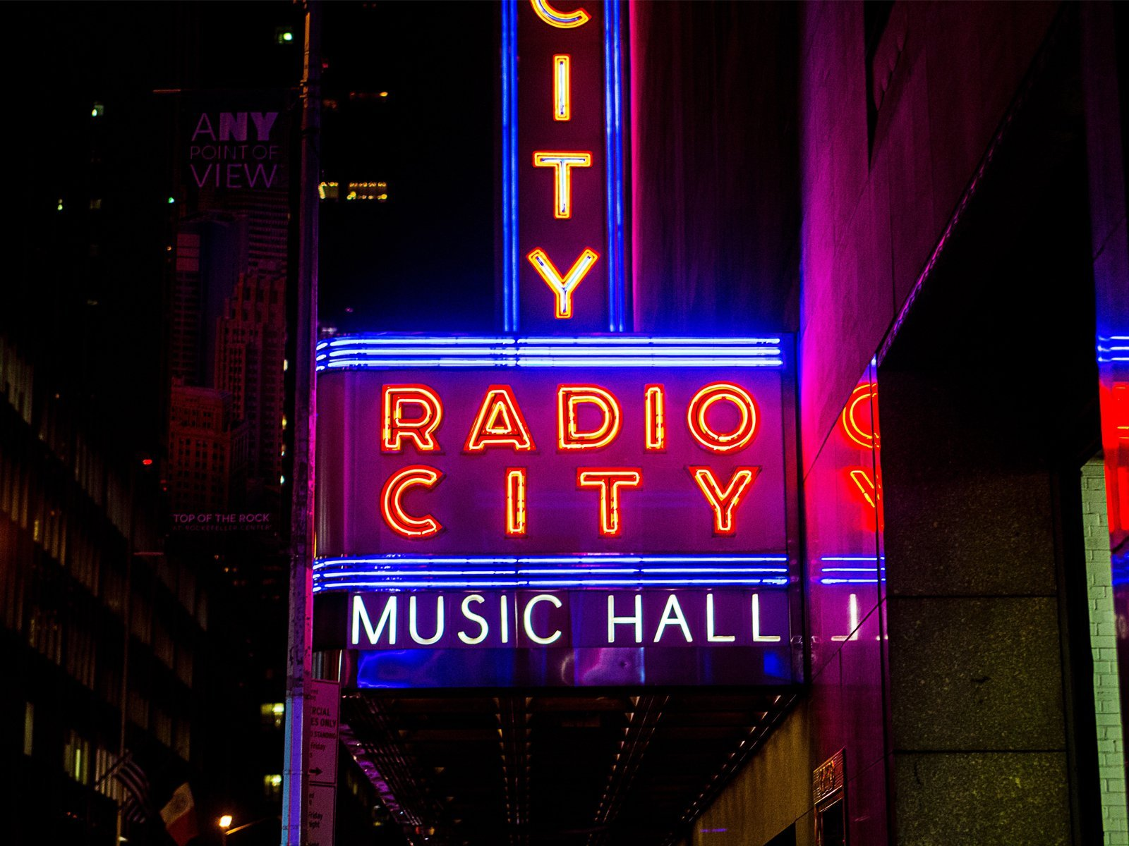 a view of the sign for Radio City Music Hall in New York City