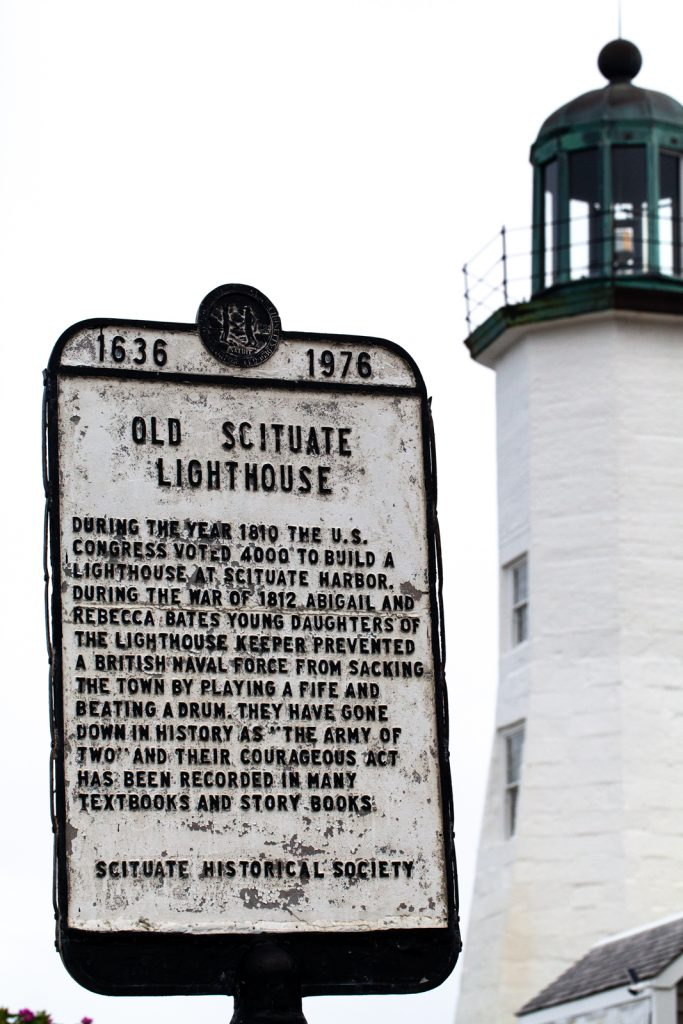 """a sign that reads """"Old Scituate Lighthouse"""""""