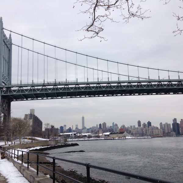 a view of NYC skyline and the Triborough Bridge from Astoria Park in Astoria, Queens