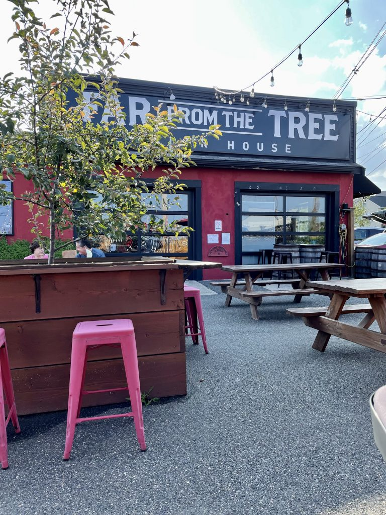 an exterior shot of the dog friendly beer garden at Far from the Tree Cider in Salem, MA