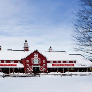 exterior of the Yankee Candle Village in South Deerfield, Massachusetts